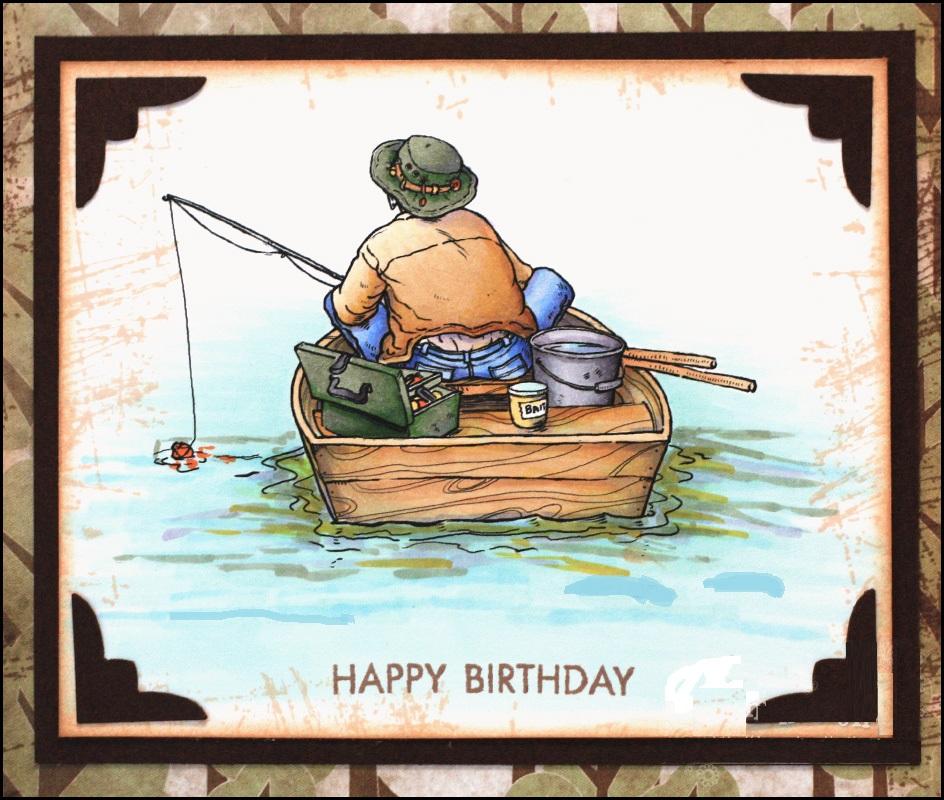 Поздравление с днём рождения рыбаку открытка 23